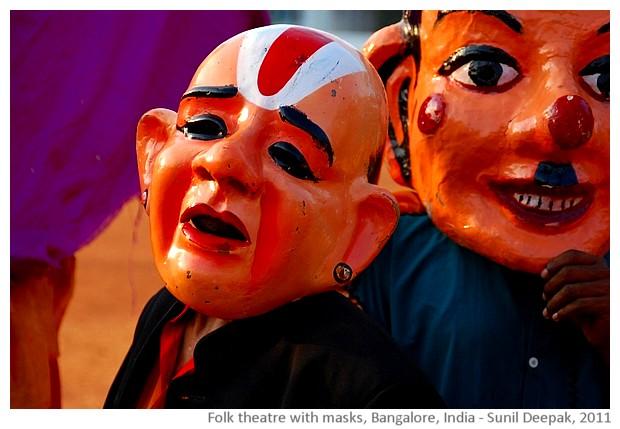 Folk dancers with masks, Bangalore, India - images by Sunil Deepak, 2011