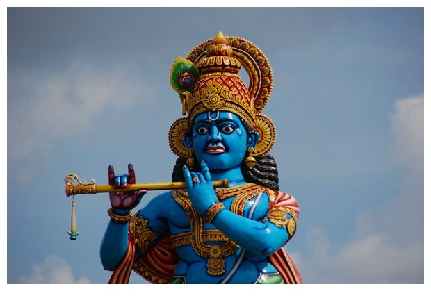Blue colour in Hindu God statues
