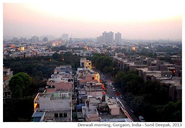 Deewali morning in Gurgaon, India - images by Sunil Deepak, 2013