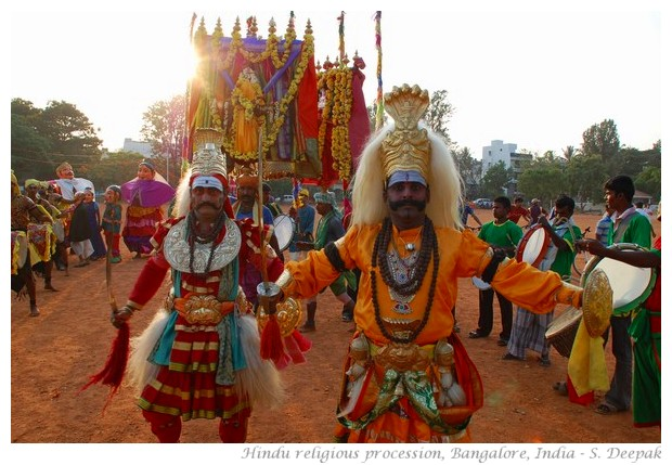 Traditional dancers in Hindu religious procession - images by S. Deepak