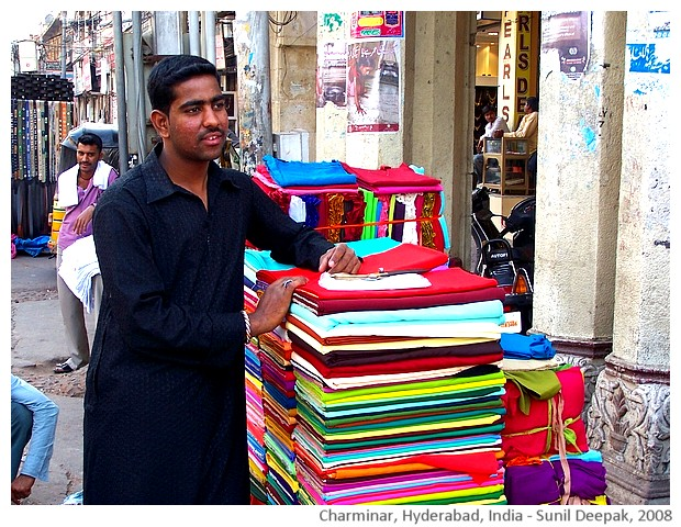 Roadside shops, old city, Hyderabad, India - images by Sunil Deepak, 2008