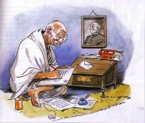 Mahatma Gandhi cartoon by Laxman