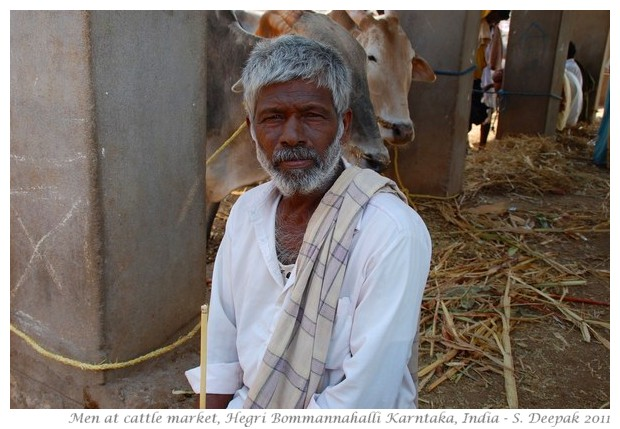Men at traditional cattle market, Karnataka India - images by S. Deepak