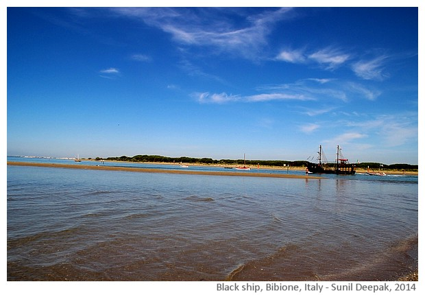 Old black sail ship, Bibione port, Italy - images by Sunil Deepak, 2014
