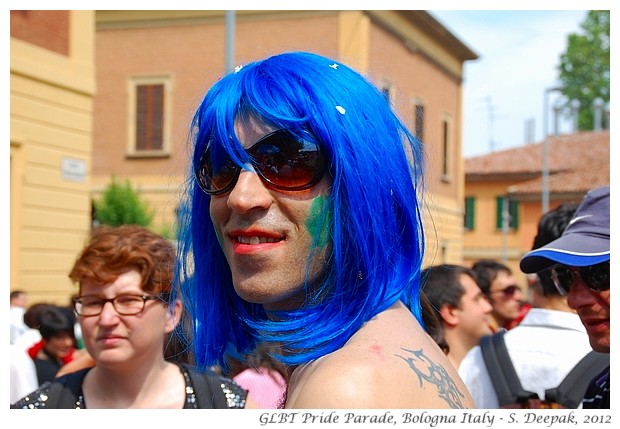 Blue hair at Bologna GLBT Pride Parade - S. Deepak, 2012