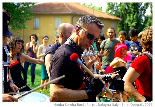 Houba Samba rock group, Bologna Partot parade, Italy - images by Sunil Deepak