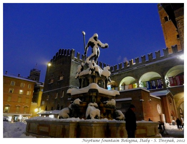 Neptune fountain with snow, Bologna, Italy - S. Deepak, 2012