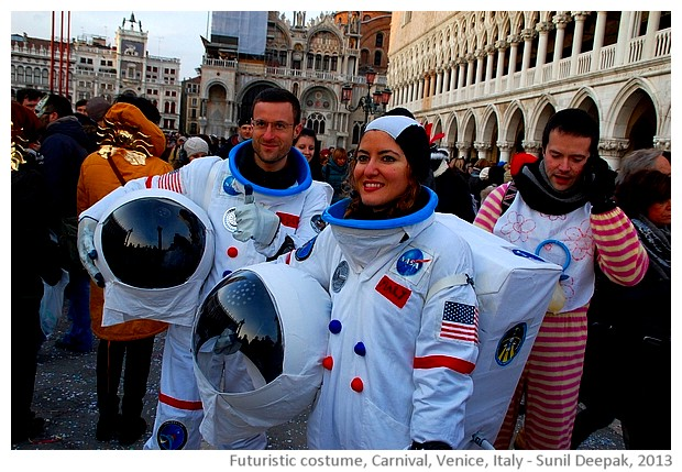 Carnival, Futuristic space ship costumes, Venice, Italy - images by Sunil Deepak, 2013