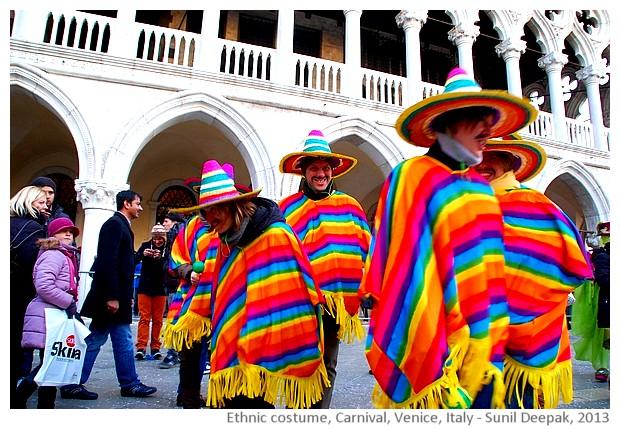 Carnival, ethnic Peruvian costumes, Venice, Italy - images by Sunil Deepak, 2013