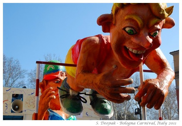 Float of olympic athletes, Bologna Carnival, Italy 2011