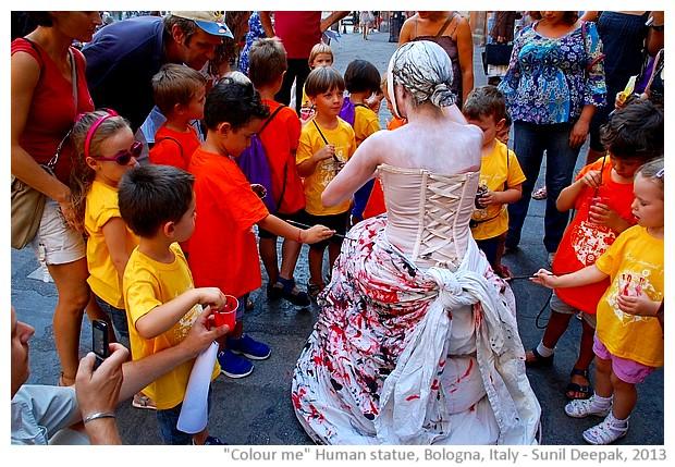 Colour me human statue, Bologna, Italy - images by Sunil Deepak, 2013