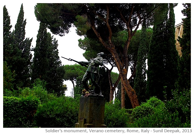 Soldiers' monument, Verano cemetery, Rome, Italy - images by Sunil Deepak, 2013