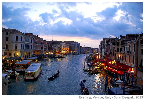 Evening lights in Venice, Italy - images by Sunil Deepak, 2013