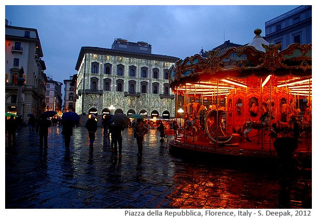 Christmas lights and rain in Florence, Italy - S. Deepak, 2012