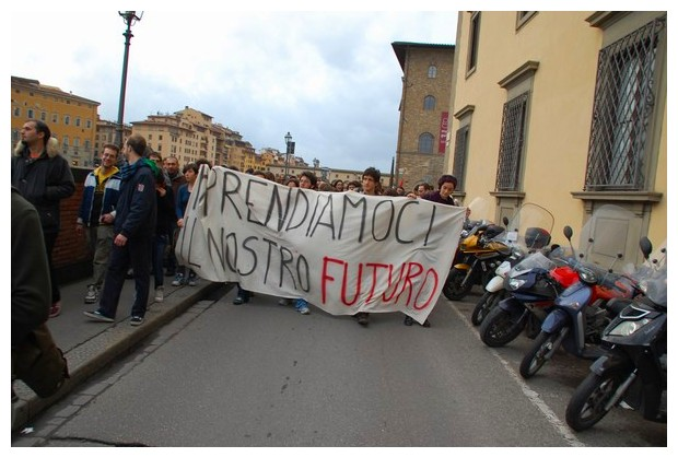 Students in a protest march in Florence, Italy, Dec 2010