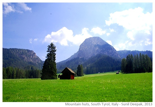 Huts in pasturelands, South Tyrol, Italy - images by Sunil Deepak, 2013