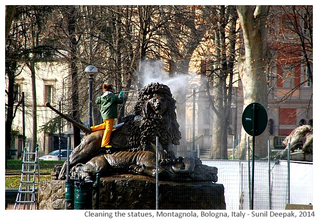 Cleaning statues, Montagnola park, Bologna, Italy - images by Sunil Deepak, 2014