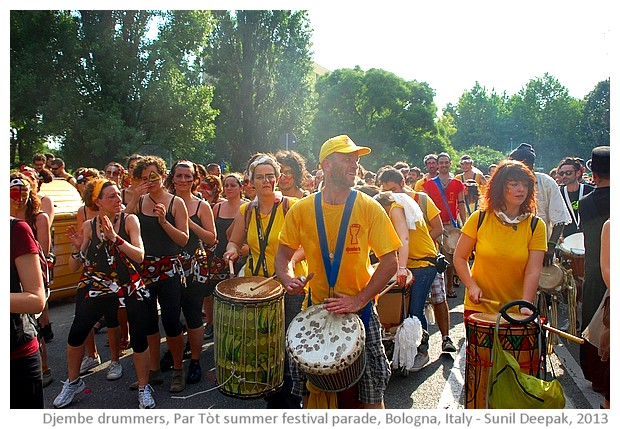 Djembe African drummers, Par Tot summer parade, Bologn, Italy - images by Sunil Deepak, 2013