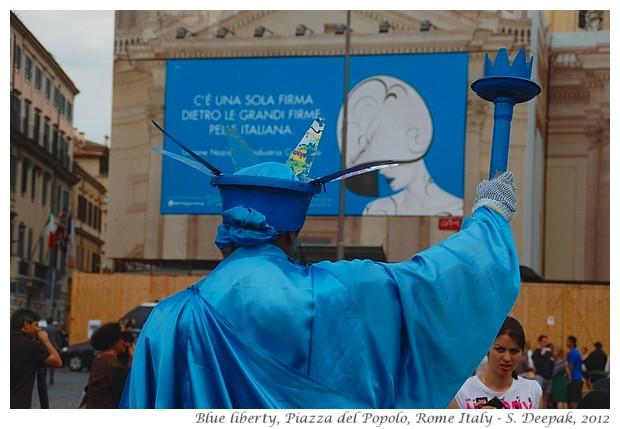 Blue statue of liberty, Rome Italy - S. Deepak, 2012