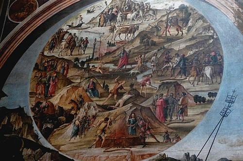 Rock formations, painting detail, Bentivoglio chapel, San Giacomo church, Bologna, Italy