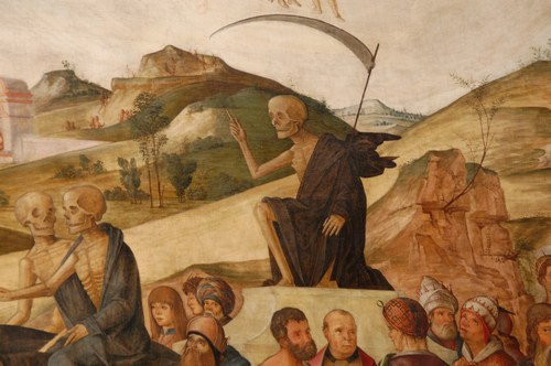 Detail of hills in L. Costa paintings, Bentivoglio chapel, San Giacomo church, Bologna, Italy