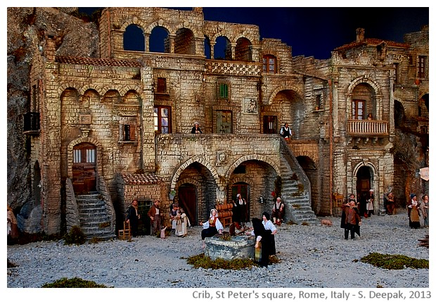 Crib showing Matera homes, St Peter square, Rome, Italy - images by Sunil Deepak, 2013