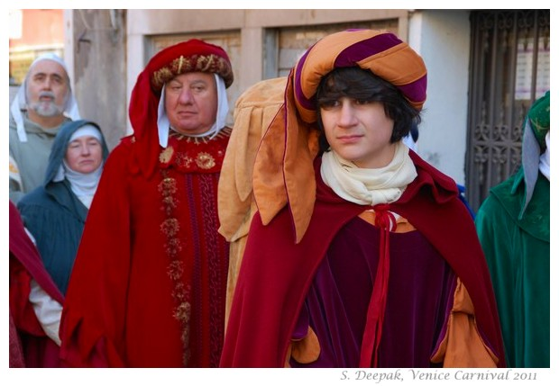 Drummers in medieval dresses, Venice Carnival, 2011