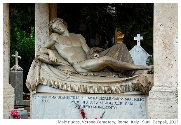 Sculptures of men, Verano cemetery, Rome, Italy - images by Sunil Deepak, 2013
