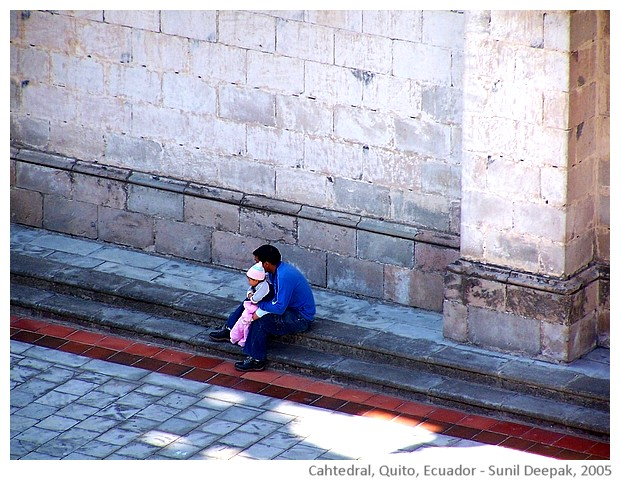 People, Cathedral, Quito, Ecuador - images by Sunil Deepak, 2005