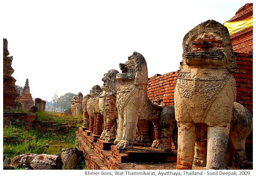 Wat Thammakarat temple lions, Ayutthaya, Thailand - Images by Sunil Deepak, 2009