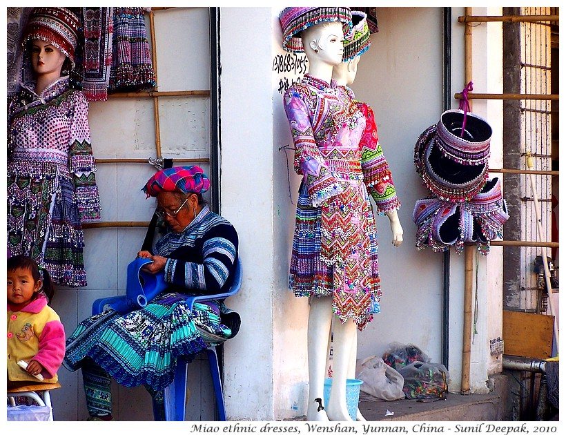 Miao ethnic dress market, Wenshan, Yunnan, China - Images by Sunil Deepak