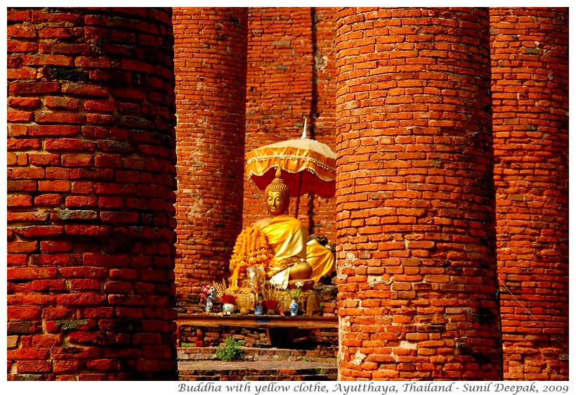 Buddha statues draped in yellow, Ayutthaya, Thailand - Images by Sunil Deepak
