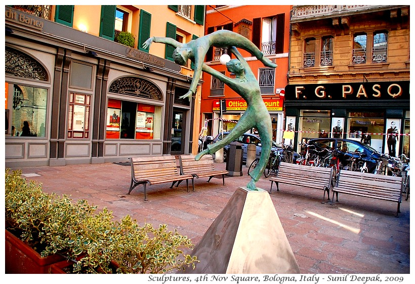 Sculptures in Piazza 4 Novembre, Bologna, Italy - Images by Sunil Deepak