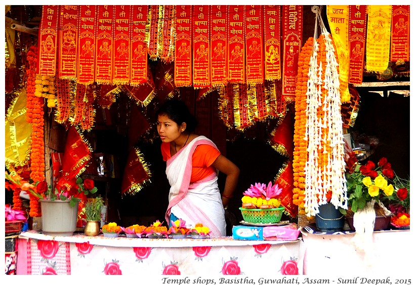 Woman selling prayer things, Basistha temple, Guwahati, Assam, India
