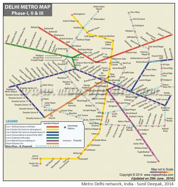 Rete della metroplitana di Delhi, India