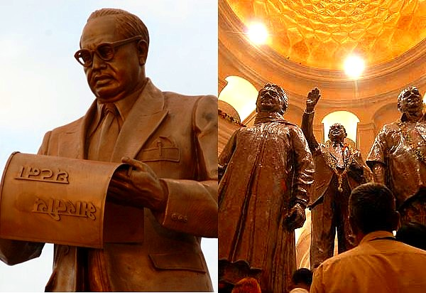 Castes in India - collage on Ambedkar and Mayawati by Sunil Deepak