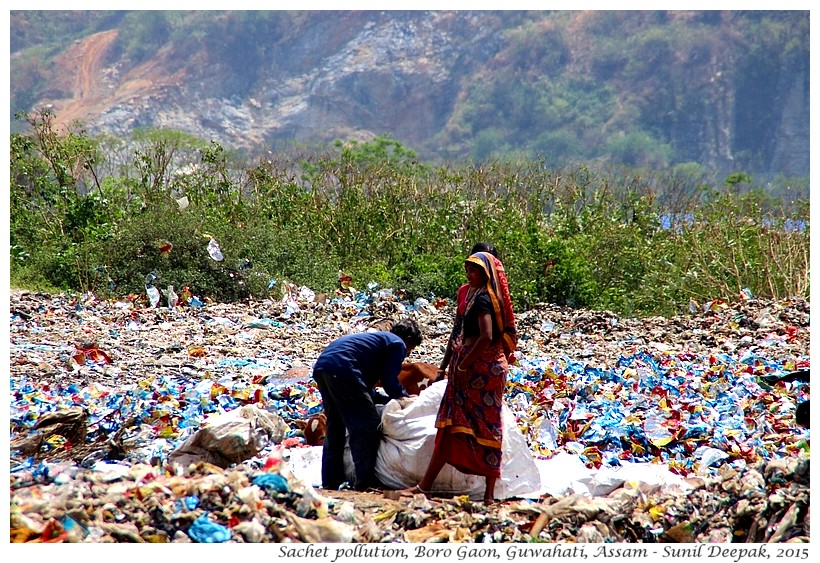 Sachet pollution in India - Images by Sunil Deepak