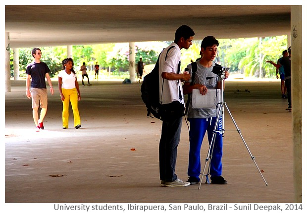 University students shooting video, San Paulo, Brazil - Images by Sunil Deepak, 2014