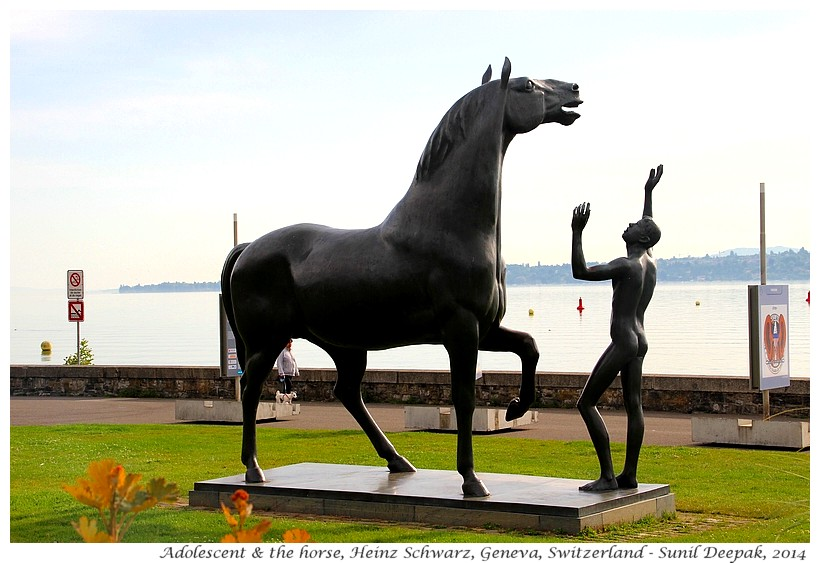Adolescent & the horse, sculpture by Heinz Schwarz, Geneva, Switzerland - Images by Sunil Deepak