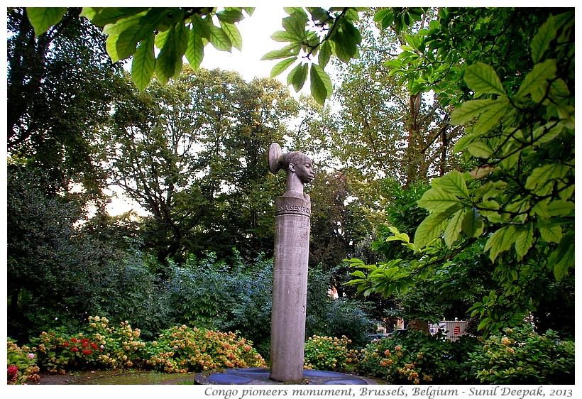 Congo pioneers colonial monument, Brussels, Belgium - Images by Sunil Deepak, 2013