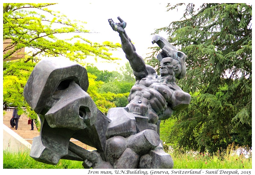 Iron man sculpture, Geneva, Switzerland - Images by Sunil Deepak