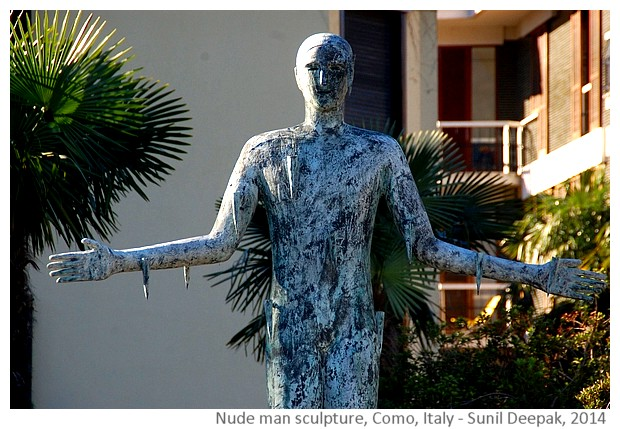 Nude man with open arms, Como, Italy - Images by Sunil Deepak, 2014