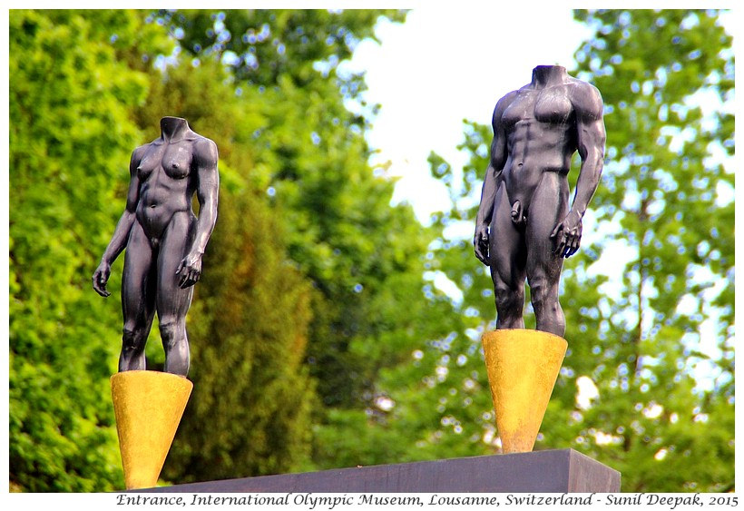 Sculptures, entrace to Olympic museum, Lousanne, Switzerland - Images by Sunil Deepak