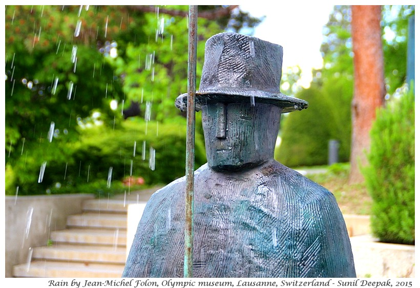 Rain by Jean Michel Folon, Olympic museum, Lausanne, Switzerland - Images by Sunil Deepak