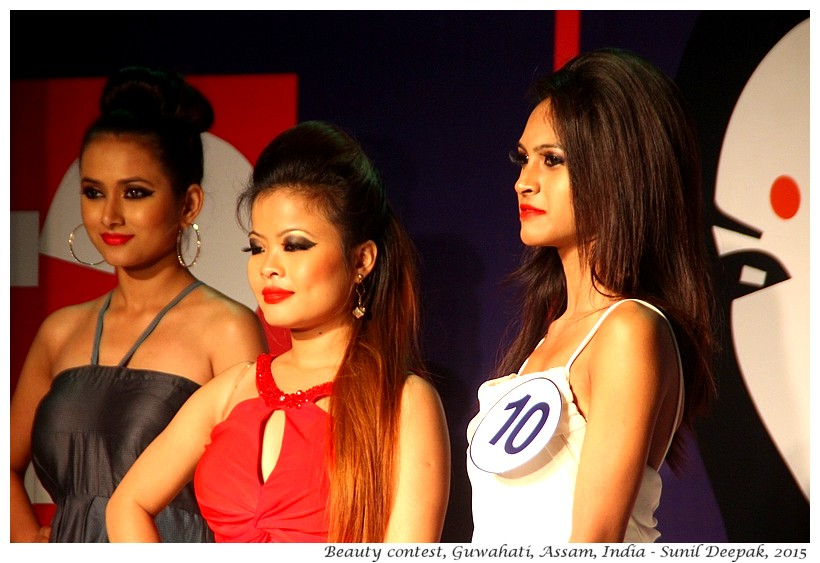 Young women at a beauty contest, Guwahati, Assam, India - Images by Sunil Deepak