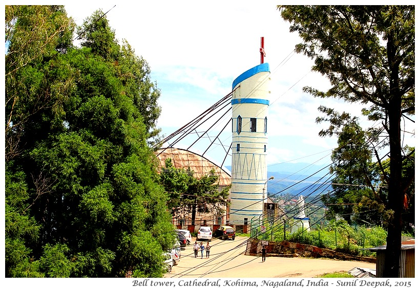 Bell tower, Cathedral, Kohima, Nagaland, INdia - Images by Sunil Deepak