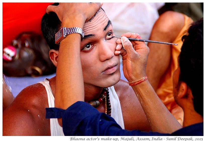 Makeup of Actor of Bhaona folk theatre, Majuli, Assam, India - Images by Sunil Deepak