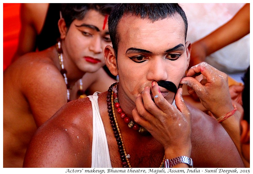 Actors makeup, Bhaona traditional theatre, Majuli, Assam, India - Images by Sunil Deepak