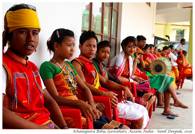 Young dancers-musicians wait for traditional Bihu festivities, Guwahati, Assam, India - Images by Sunil Deepak