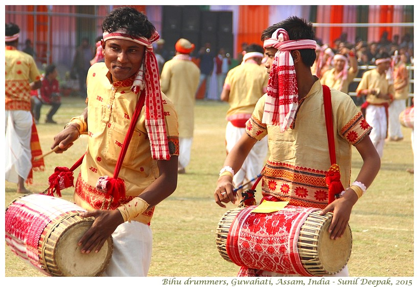 Bihu drummers, Guwahati, Assam, India - Images by Sunil Deepak
